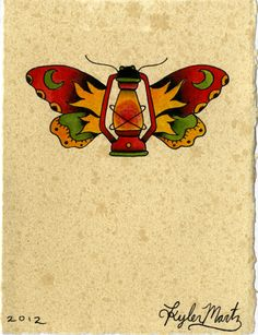 Butterfly Lantern Tattoo Flash | KYSA #ink #design #tattoo