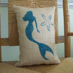 Mermaid starfish pillow Beach decor Ocean by KelleysCollections