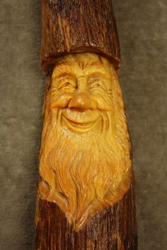 A Wood Carving of a Wood Spirit Elf Wizard by TreeWizWoodCarvings