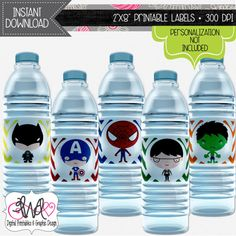 INSTANT DOWNLOAD: Superhero Theme Water Bottle Labels, Party Favor Stickers, Party Decorations