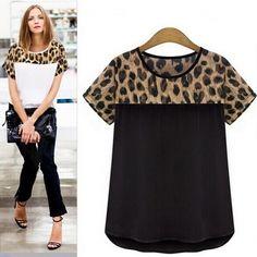 Women Leopard Casual Plus Size Clothing Short Sleeve Chiffon Blouse Shirt Leopard Blouse, Plus Size Blouses, Short Outfits, Salwar Kameez, Plus Size Outfits, Blouses For Women, Nepal, London, Womens Fashion