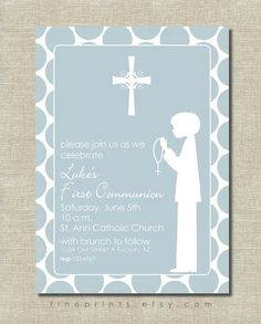 primera invitación de comunión azul con silueta por FinePrints