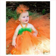 Pumpkin Princess Couture Tutu Dress #pumpkinpricess #couturetutu #halloweentutucostume #saigenicoles