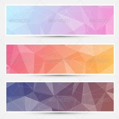 Modern abstract crystal polygonal structure background banners set for web. Vector illustration