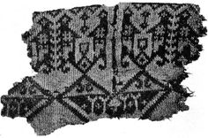 The so-called Ikle Fragment, found in Egypt and dated to the 7th-9th c. CE.  Originally viewed as evidence for the beginning of knitting, but now increasingly believed to be an example of nalbinding.  The background color is yellow, with the design in red.  Photograph from Chris Laning's Flickr.