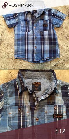 Plaid Button Down Short Sleeve Shirt-EUC Cute blue plaid button down short sleeve shirt.  Has 2 chest pockets w buttons. Bought in Europe, so it's a European brand, Losan Kids. Shirts & Tops Button Down Shirts