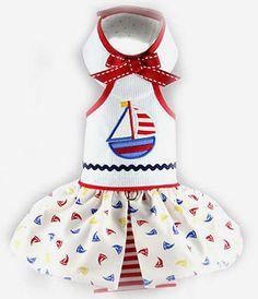 Sail Away Halter Dog Dress ~ http://puprwear.com/