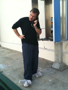Tim Roth, in cute slippers, payphone. Lie to me. Great tv show.
