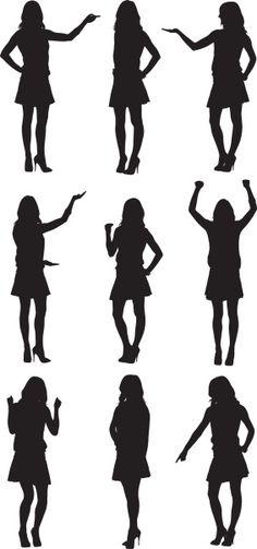 Vectores libres de derechos: Multiple images of a woman in…