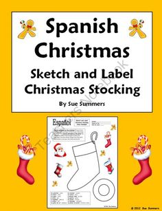 Christmas writing assignment a letter to santa claus in spanish by spanish christmas stocking sketch and label spiritdancerdesigns Image collections