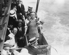 Harry Houdini At Work, about to be submerged in the East River in New York, 1912