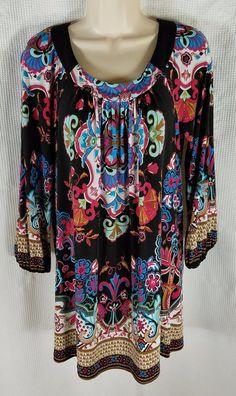Beige by eci Dress Size Small Black Pink Blue Floral Shift Mini Peasant Boho #Beigebyeci #Shift #Casual