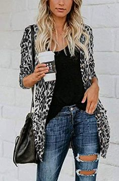 Women's Leopard Printed Cardigans Shirt Lightweight Button Down Cardigans Coat W Pockets(S-2XL) - DeepShopo - Apparel and Accessories Store Cardigan Shirt, Long Knit Cardigan, Longline Cardigan, Cardigan Outfits, Cardigan Fashion, Black Cardigan, Animal Print Cardigans, Leopard Print Leggings