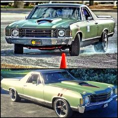 El camino pro touring. green side fender rally stripes chevelle