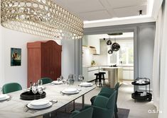 Dining Room and Kitchen at Townhouse in Düsseldorf   designed by studio a.s.h. Modern Classic, Townhouse, Living Spaces, Conference Room, Dining Room, Studio, Kitchen, Table, Design