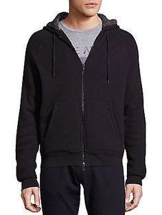 John Varvatos Star USA Fleece-Lined Waffle-Knit Hoodie - Black - Size