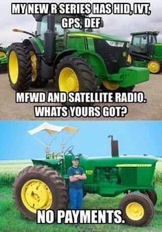 """As my Agronomy instructor would say, """"new equipment doesn't make a good farmer.""""   Farming   Pinterest   Farmers and Truths Farm Jokes, Farm Humor, Funny Jokes, Funny Signs, Antique Tractors, Vintage Tractors, Farm Life Quotes, Old John Deere Tractors, Country Girl Quotes"""