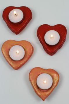 Salt dough valentine candle holders Salt dough tea light holders from The Mad House Valentines Day Holiday, Valentines Day Activities, Valentines For Kids, Valentine Day Crafts, Valentine Decorations, Romantic Candles, Tea Candles, Diy Candle Holders, Light Crafts