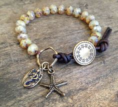 Beads and leather Mermaid & Starfish Knotted Leather Wrap Bracelet, Beach Chic Jewelry $35.00