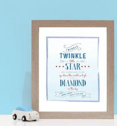 Twinkle Twinkle Little Star in Blue. Kids wall art and wall prints.  Shop Love JK for nursery decor and nursery ideas.