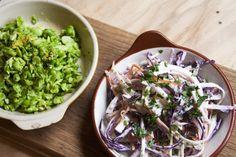 Homemade Slaw & Green Salad - crushed broad beans, edamame beans and peas, lemon, mint  Full menu: http://www.kahluacoffeehouse.com/menus