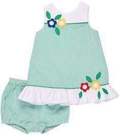 Florence Eiseman Check Seersucker Dress w/ Bloomers, Size 3-24 Months
