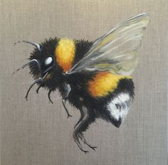 A fabulously fuzzy Bumblebee. Size: 30x30cm Commissioned as a gift. www.facebook.com/angelabrownart