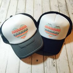 new multicolored wave heart trucker hat. Choose by ArieBdesigns