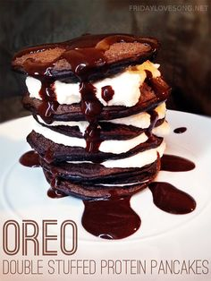 Double Stuffed 'Oreo' Protein Pancakes. Totally making these for the hubby on his bday!