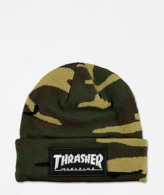 Top off your winter style with the Logo Patch camo beanie from Thrasher. This green camo beanie features a tight knit construction with a fold-over cuff. A black and white Thrasher Magazine logo patch is added to the front cuff, ensuring your skate-inspired style is on point, even when the temperatures drop.
