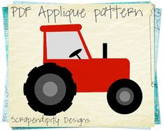 Farm Applique Pattern - Birthday Tractor Applique Template / Tractor Quilt Pattern / Red Boys Tshirt / Toddler Applique Shirt / DIY by ScrapendipityDesigns, $2.50