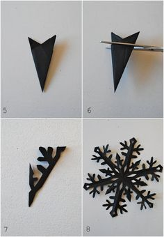 How to make a tissue paper snow flake from mamas kram. - i like the idea of a black snowflake