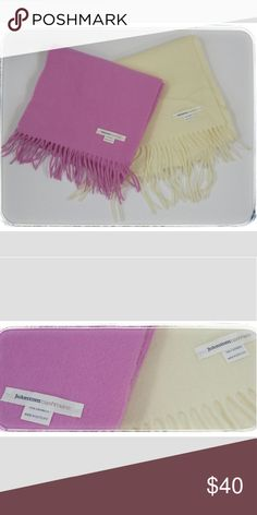 Two 100% Cashmere Scarves Two 100% Cashmere Scarves from Johnston's Cashmere in Scotland...creamy vanilla and  beautiful raspberry sorbet colors! Perfect Condition! Never worn! Johnstons Cashmere Other