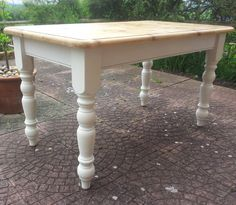 Our most recent kitchen table - perfect farmhouse chic! Beautiful farm house pine kitchen table sanded by PaintedSongbird, £180.00