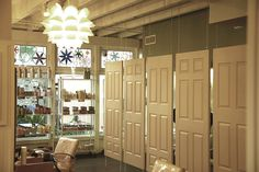 Hanging doors divider at Urban Betty Salon in Austin, TX