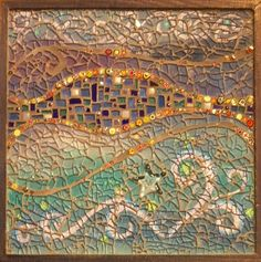 There aren't any details on this beautiful piece by Tiny Tile Mosaics, but it looks like crash glass over a painted image with gold grout.