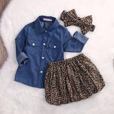 Traje de denim de leopardo de 3 piezas de niña bebé con diadema de lazo 4004132daab