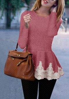 Girl in red melange peplum top, black punts and brown hand bag