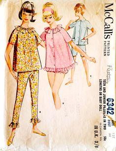 McCall's 6342 - pyjamas baby doll bloomers sewing pattern from 1962 Mccalls Sewing Patterns, Vintage Sewing Patterns, Clothing Patterns, Vintage Dresses, Vintage Outfits, Vintage Fashion, 1960s Fashion, Fashion Sewing, Childrens Pyjamas