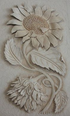 Leather craft-Sunflower Carving - paint and art Wood Carving Designs, Wood Carving Patterns, Wood Carving Art, Wood Art, Leather Carving, Leather Art, Sewing Leather, Leather Crafts, Clay Wall Art