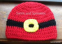 Swirls and Sprinkles, Santa suit hat, free crochet pattern.