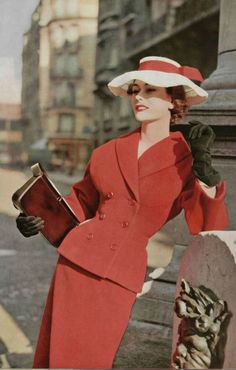 1953  Christian Dior red suit fashion style vintage 50s pencil hat gloves color photo print ad model magazine