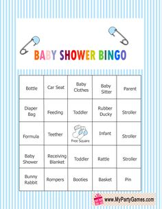 Free Printable Baby Shower Bingo Game Cards in Blue Color