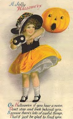 On Halloween if you hear a noise, Don't stop and look behind you . Vintage Halloween Postcard, artist Ellen H Clapsaddle Retro Halloween, Photo Halloween, Halloween Fotos, Vintage Halloween Images, Halloween Wishes, Images Vintage, Halloween Greetings, Halloween Pictures, Vintage Holiday