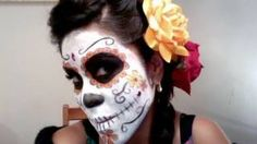 Dia de los muertos makeup hair tutorial, via YouTube.