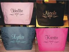 8 WEDDING TOTE Bag personalized BRIDESMAID SCROLL BRIDAL SHOWER CHEAP GIFT