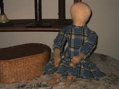 Sweet Early Handmade Doll with Plain Face.....Blue Wool Dress...Mitten hands and shaped feet.......