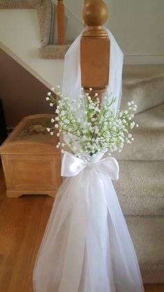 pew decor tulle and baby's breath. Set of pew decor tulle and baby's breath. Set of 10 Church Wedding Decorations Aisle, Wedding Pews, Rustic Wedding Flowers, Wedding Flower Decorations, Bridal Shower Decorations, Floral Wedding, Fall Wedding, Wedding Centerpieces, Flower Centerpieces