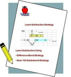 Teach kids to improve mental calculation. Subtraction strategy using Difference Bond and Near 100-Subtraend method.