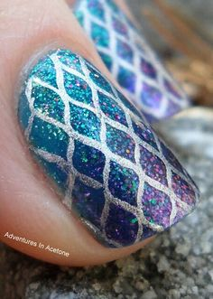 Mermaid fish scale metallic nail art. Mega Rocks in Slap The Bass